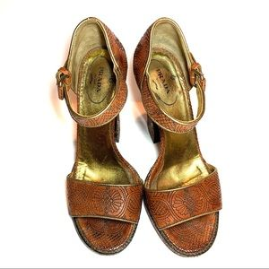 Prada Detail Woven Leather High Platform Sandals